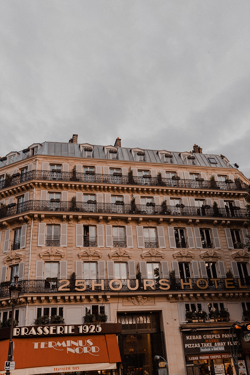 The outside of the 25 hours hotel Terminus Nord in Paris, located right across Gare Du Nord in the 10th arrondisement